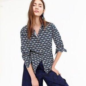 J. Crew Slim Perfect Shirt in Elephant Print